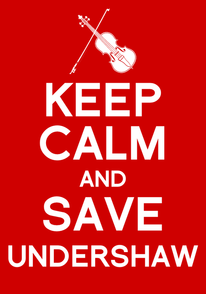 Poster saying Keep Calm and Save Undershaw in white letters on a red background with stylized violin and bow at the top