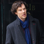 Benedict Cumberbatch as BBC Sherlock in black coat for series 3