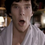 "Benedict Cumberbatch as Sherlock Holmes in the BBC series Sherlock with mouth open in a surprised ""Oh!"" expression"