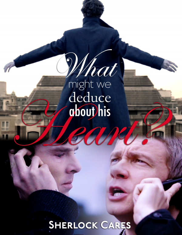 A poster with the Sherlock on the rooftop ready to jump image plus one of Benedict Cumberbatch as Sherlock on his mobile phone talking to Martin Freeman as John Watson on his phone