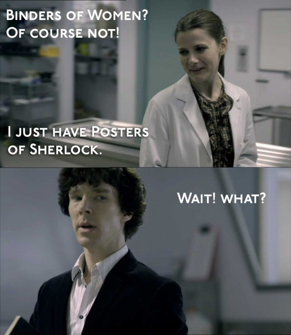 Louise Brealey as Molly Hooper in BBC Sherlock and Benedict Cumberbatch as Sherlock Holmes
