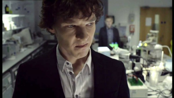 Benedict Cumberbatch as Sherlock Holmes sneering in A Study in Pink