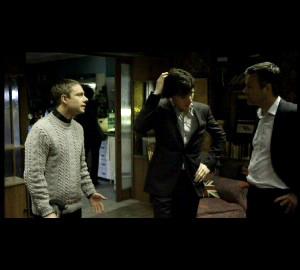 Martin Freeman as John Watson, Benedict Cumberbatch as Sherlock and Rupert GRaves as Lestrade in BBC Sherlock