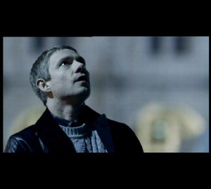 Martin Freeman as John Watson of BBC Sherlock looking upward