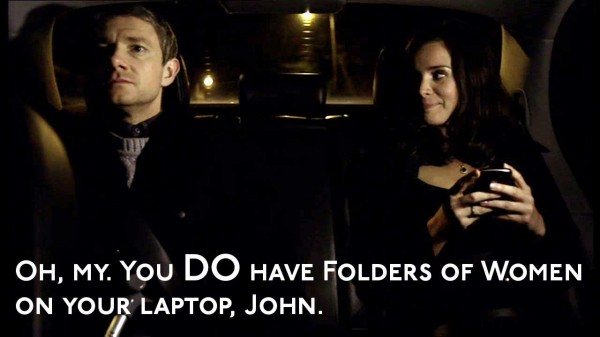Martin Freeman as John Watson in BBC Sherlock in car with Anthea