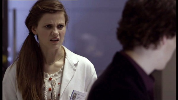 Louise Brealey as Molly Hooper in BBC Sherlock looking disbelieving and angry