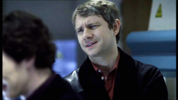 Martin Freeman as John Watson in the BBC series Sherlock with a look of disbelief on his face