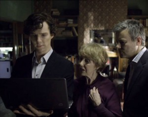Benedict Cumberbatch as Sherlock Holmes with Mrs. Hudson and D.I. Lestrade from the BBC series Sherlock