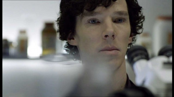 Benedict Cumberbatch as Sherlock Holmes in the BBC series Sherlock looking slightly surprised