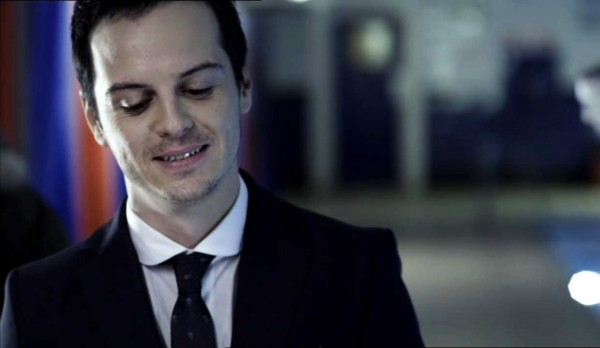 Andrew Scott as James Moriarty smirking