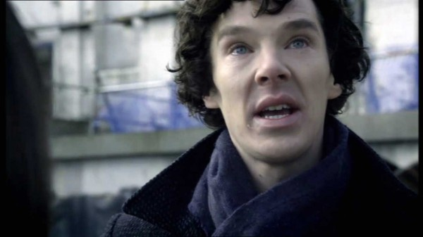 Benedict Cumberbatch as Sherlock Holmes in BBC Sherlock appears to be crying