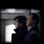Benedict Cumberbatch as BBC Sherlock Holmes with Mark Gatiss as Mycroft Holmes in the morgue