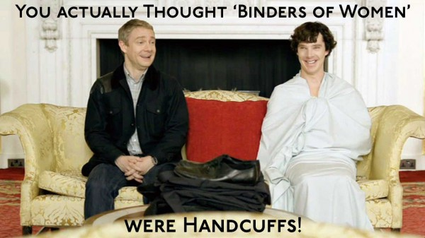 Martin Freeman as John Watson and Benedict Cumberbatch as Sherlock Holmes wrapped in a sheet laughing on a sofa