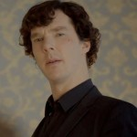 Benedict Cumberbatch as BBC Sherlock with cut face, black shirt