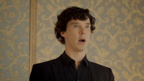 Benedict Cumberbatch as Sherlock Holmes in BBC series Sherlock looks shocked