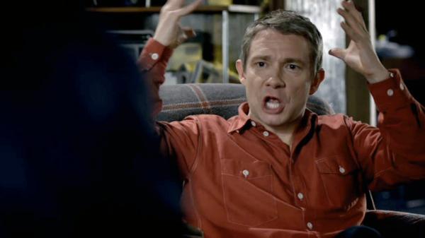 Martin Freeman as John Watson in BBC Sherlock yelling at Sherlock Holmes