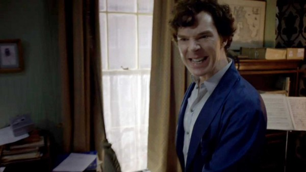 Benedict Cumberbatch as BBC Sherlock Holmes with a disbelieving sneer on his face