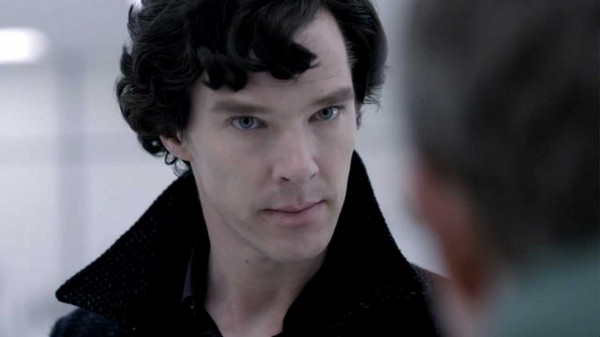 Benedict Cumberbatch as BBC Sherlock looking decidedly upset with John Watson off camera