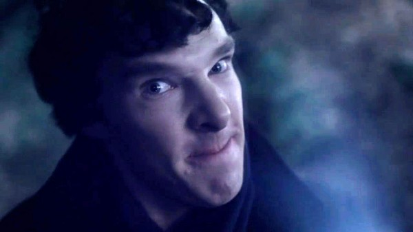 Close-up of Benedict Cumberbatch as BBC Sherlock Holmes making a funny angry face