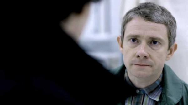 Martin Freeman as John Watson from BBC series Sherlock looking very angry at Sherlock