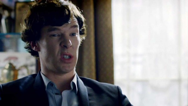 Benedict Cumberbatch as Sherlock Holmes with a stupid expression on his face