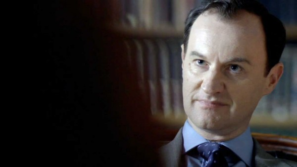 Mark Gatiss as Mycroft Holmes in the BBC series Sherlock