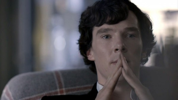 Benedict Cumberbatch as BBC Sherlock on a contemplative pose