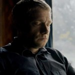 Martin Freeman as Dr. John Watson in BBC Sherlock eyes closed