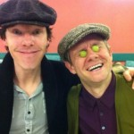 Benedict Cumberbatch and Martin Freeman mugging for the camera at the Sherlock Season 3 read-through.