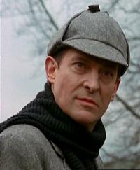 Jeremy Brett as Sherlock Holmes in deerstalker cap