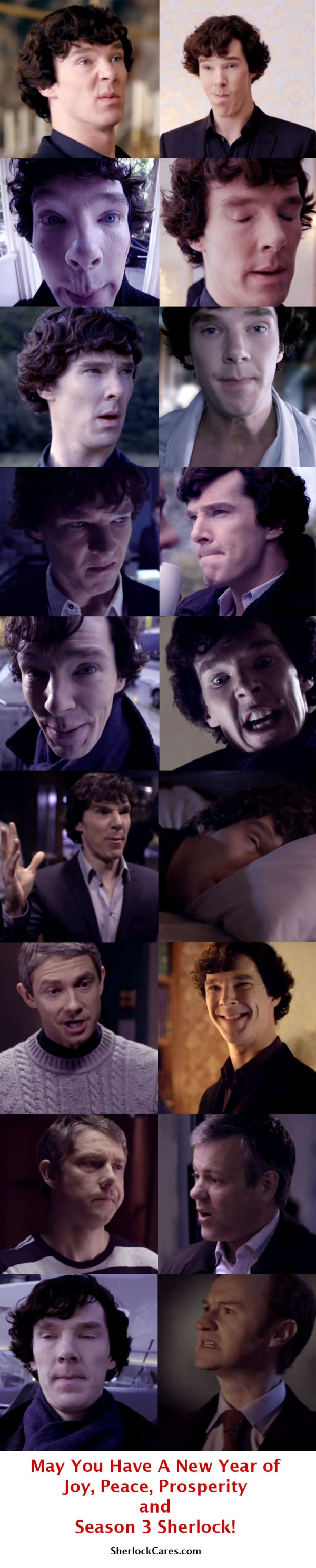 Several images of Benedict cumberbatch as Sherlock Holmes with silly faces, test reads: May You Have a New Year of Joy, Peace, Prosperity and Season 3 Sherlock