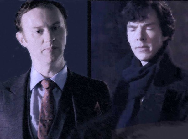 Mark Gatiss as Mycroft Holmes and Benedict Cumberbatch as Sherlock HOlmes in the BBC series Sherlock