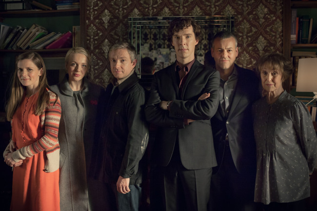 Sherlock, normally the tallest person is suppose to stand in the back.  Photographer: Robert Viglasky