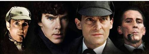 A montage of Sherlock Holmes featuring Basil Rathbone, Benedict Cumberbatch, Jeremy Brett, and Peter Cushing